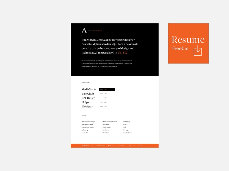 Resume freebie for personal and commercial use