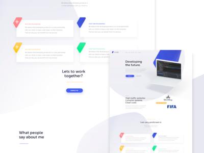 Webdesign for developer disney fifa brands mockup website developer colors dropshadow webdesign