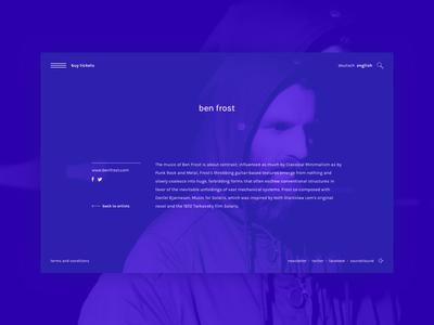 Artist Page frost ben purple website ux ui interface dance artist music