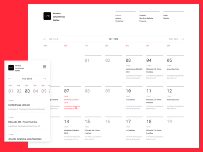 Grid Calendar responsive mobile layout page ui ux calendar interface grid