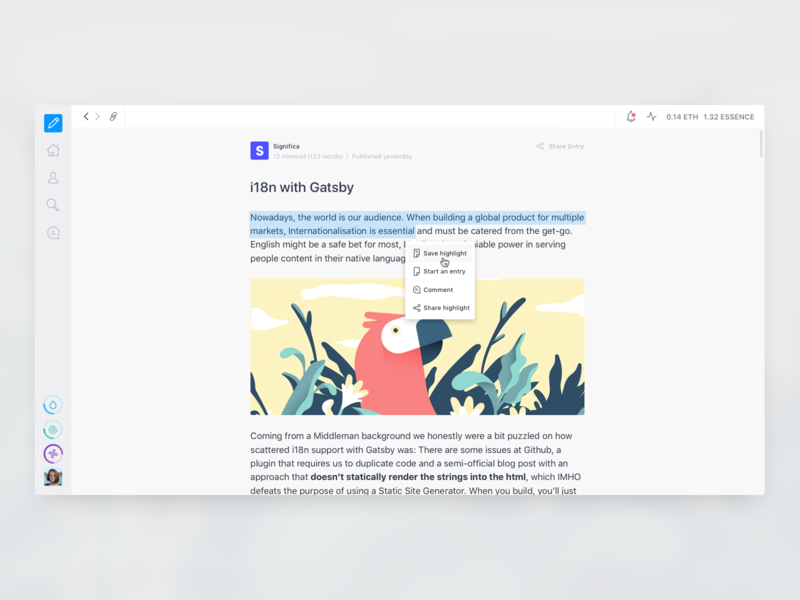 Akasha - Article 📝 highlight text sidebar popover article ui ux interface