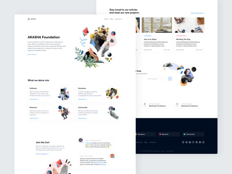 Akasha Website — Homepage ux ui significa akasha ethereum decentralized website landing illustration homepage