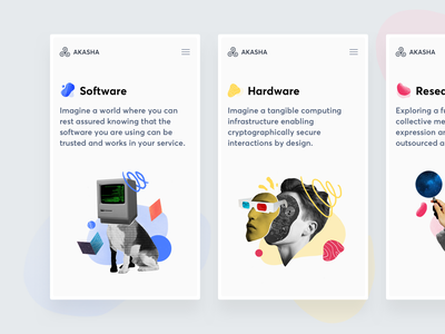 Akasha Website — Projects page mobile illustration projects decentralized ethereum significa akasha mobie website ux ui