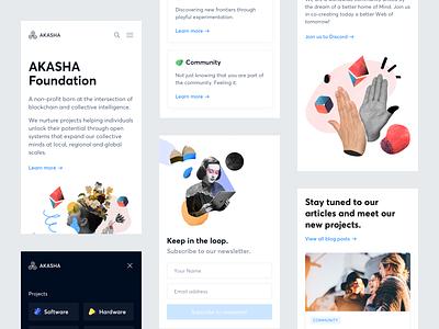 Akasha Website — Mobile mobile ethereum illustration significa decentralized cards landing akasha website interface ux ui