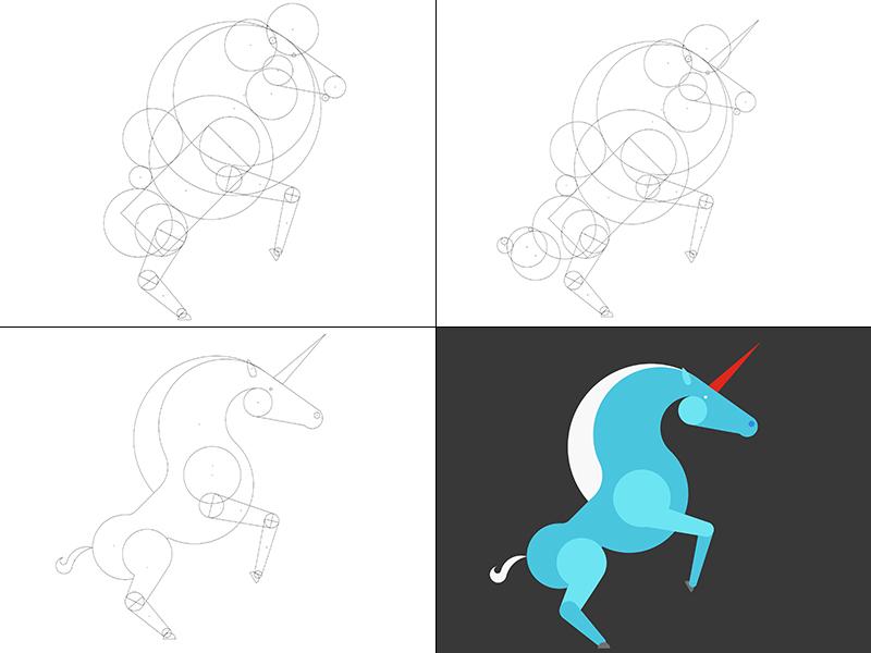 Isometric Unicorn for Fantasy Campaign creature outline horse real unicorn magic vector isometric illustrator fantasy branding illustration