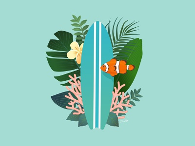 tiki dribbble chris cerrato illustration 1 copy adobe illustrator cc design art illustration illustrator coral flowers fish clown fish island tropical plants tropical water surf surfing surf board tiki
