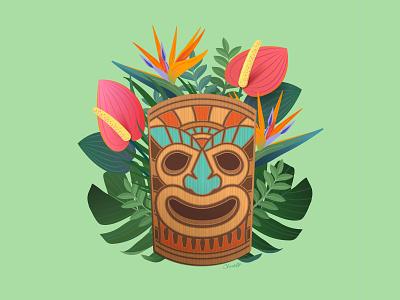 Tiki Mask bird of paradise flowers tropical flowers adobe illustrator cc adobe illustrator illustrator design art illustration mask tiki tiki mask