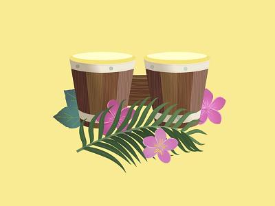 Bongos palm leaf palm leaf flowers tropical artwork art illustration drum island music music island tiki hawaiian bongos