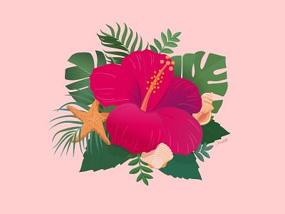 hibiscus chris Cerrato illustration adobe illustrator artwork art artist illustration starfish seashell palm palm leaves tropical flower hibiscus