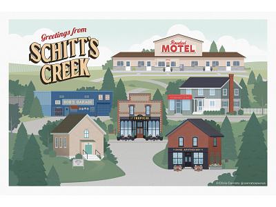 schitts creek illustration chris cerrato art postcard illustration