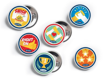 Old Navy Regional Director Pins retail buttons pins colorful fun vector illustration old navy