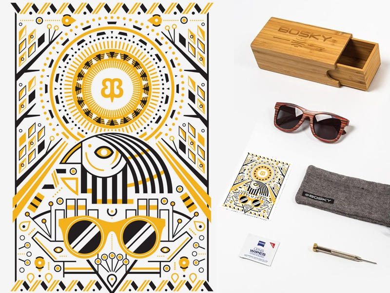 Bosky + Betabrand, Illustration drawing black and gold sunglasses betabrand bosky cerratosaurus chris cerrato art vector egyptian aztec illustration