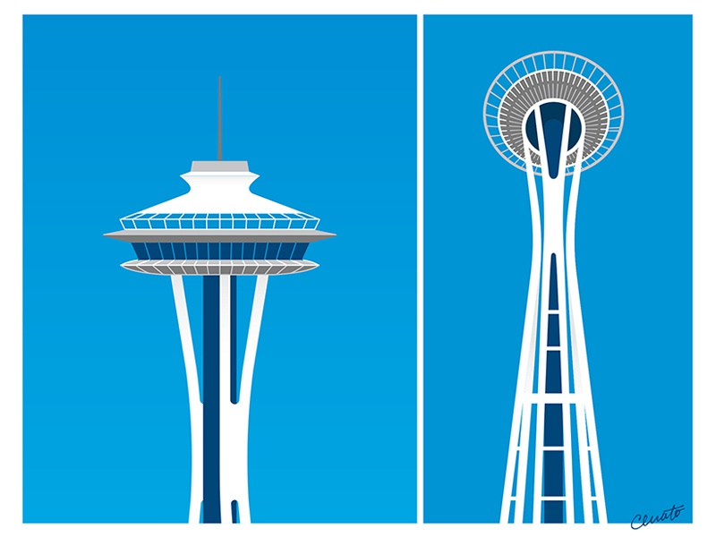 Space Needle pacific northwest seattle tower architectural architecture illustration space needle