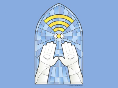 Modern Oracle (Sunday Service) illustrator christian catholic praise service sunday service modern oracle oracle all seeing eye blind hands worship internet wifi glass stained glass art illustration