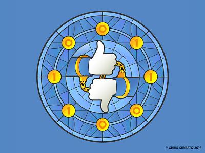 Book of Faces editorial art editorial adobe illustrator design binary code i ching ying yang social media facebook art illustration