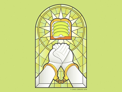 The Father, the Son, and the Holy Toast freelance illustrator adobe ilustrator toast holy stained glass handcuffs golden handcuffs hands church catholic worship avocado toast avocado illustration digital art illustration design illustration