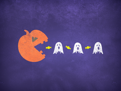 Spooky Candy Addict retro pacman arcade game video game pop culture scream scary halloween party candy pumpkin spooktober spooky season dribbbleweeklywarmup halloween design ghosts vector illustration