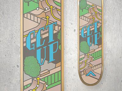 GET UP Skateboard Design concrete get up thick lines vector skateboard