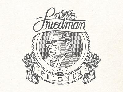 Friedman Pilsner Beer Label typography type brewery line art ink badge label milton friedman beer capitalist