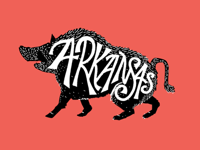 Arkansas Hogs typography ink pen print custom lettering hogs arkansas