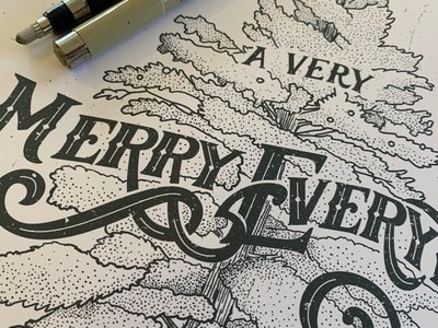 A Very Merry Everything - Process 🙄 illustration stippling sketch tree classical type lettering typography holiday
