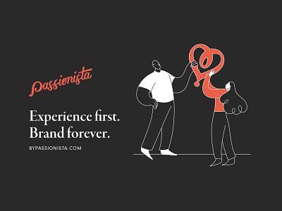 Experience first, brand forever illustration design agency branding