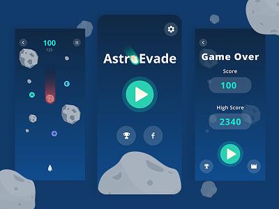 AstroEvade New UI game design space game appdesign mobile uidesign