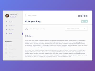 Codible_design_write ux design application design web ui blog app