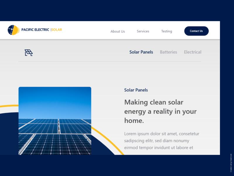 Pasific Electric Solar Website concept solar panel design ui website uidesign
