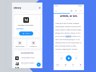 Speechify library and read layout texttospeech appdesign mobile uidesign