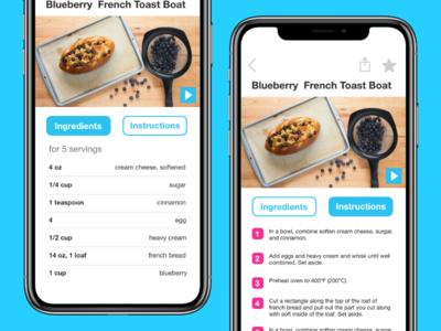 Tasty recipe app redesign mobile ui ux instructions ingredients recipe app recipe