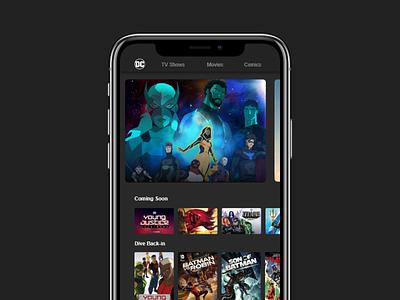 DC app_home mobile design batman streaming dc nerd mobile app mobile