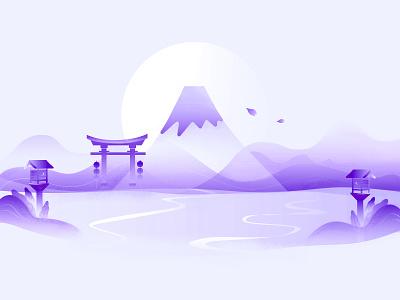 Mt. Fuji Japan fuji mt. purple sakura japan illustration