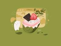 Matcha Strawberry Marshmallow Mousse Cake