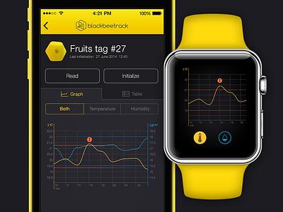 BlackBeeTrack dark apple watch stats line graph ios mobile ux ui bee