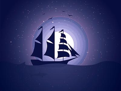 Sailing ship at night ocean sail ship romantic violet dark moon illustration