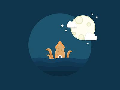 Kraken waves moon sky night water ocean illustrations kraken flat