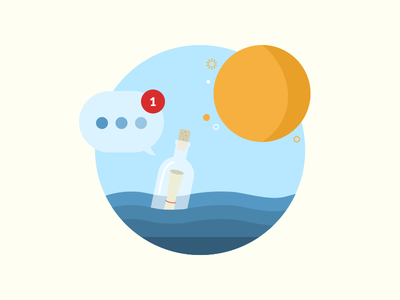 Message in a Bottle nautical notification message ocean sun water bottle flat illustration