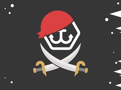 Pirate Flag crossbones swords flag ship boat pirate illustration flat