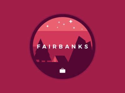 Fairbanks illustration tent trees camping moutains stars travelbank alaska fairbanks flat button
