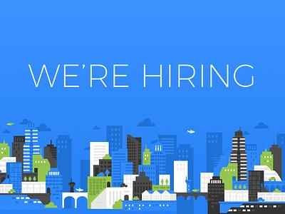 TravelBank is Hiring! clouds cityscape flat designer hiring travel travelbank