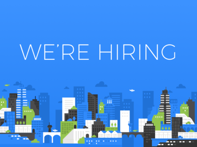 TravelBank is Hiring! clouds cityscape flat designer hiring travel travelbank