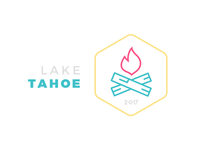 Tahoe Offsite flame logs 2017 minimal illustration fire camp flat tahoe lake