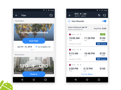 Android Flights cards airplane expenses trips travel business flights android travelbank