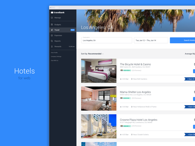 Hotel Booking minimal fintech results search travelbank bookings ui travel business