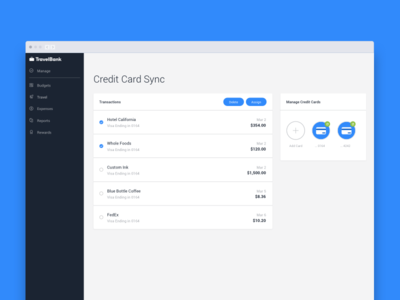 Credit Card Sync buisness flat ui expenses travel sync credit card travelbank