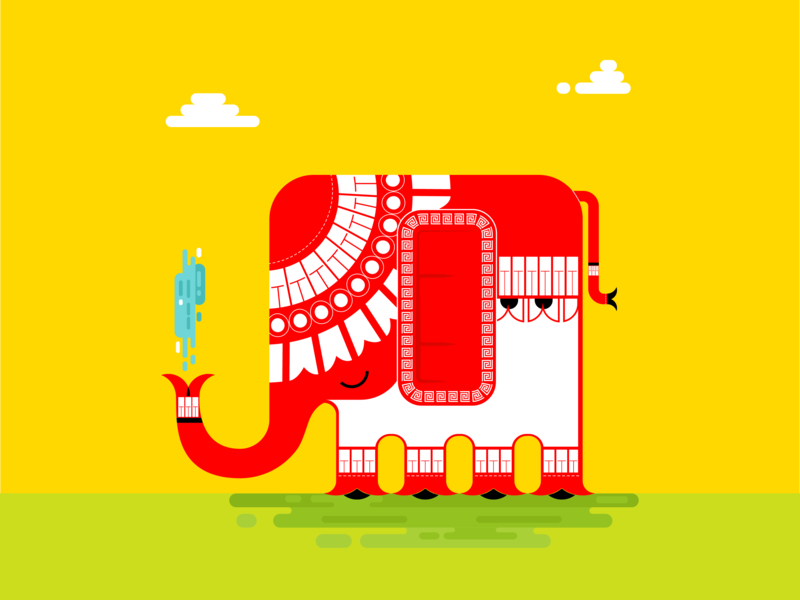 Indian Elephant animal concept doodle drawing draw graphicdesign simple digitalart vector design illustrator adobe india indian elephant yellow art illustration 2d