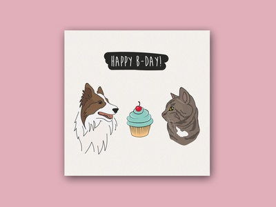 Birthday card birthday cake birthday card dog cat cupcake birthday postcard animals logo illustration cards animal playground design