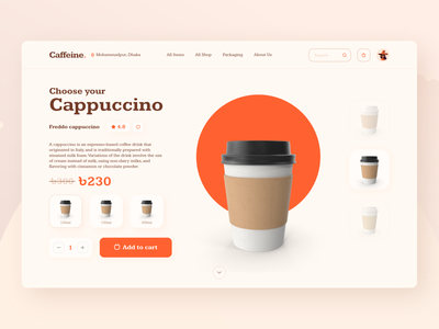 Coffeeshop Website Concept 3d design 3d homepage coffee ecommerce header design uiux uidesign website design website ui landing page landing coffeeshop product page design