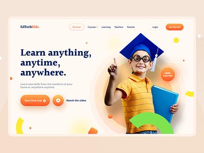 Edtech Kids Landing Page V2 online learning children kids website ui edtech education landing page